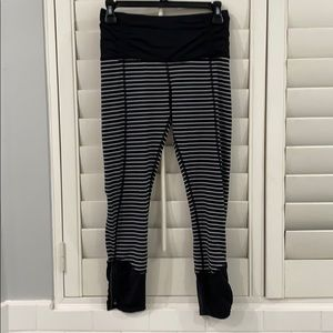 Lululemon crop black and white striped leggings